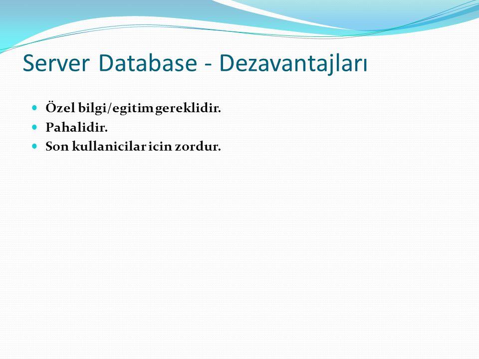  Özel bilgi/egitim gereklidir.  Pahalidir.  Son kullanicilar icin zordur. Server Database - Dezavantajları