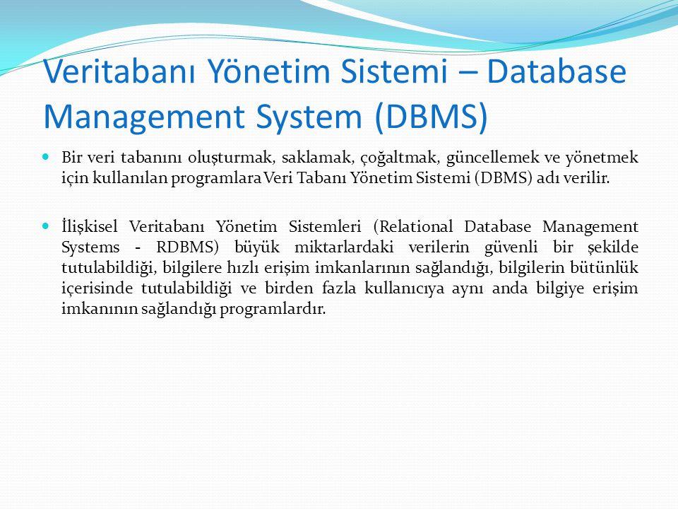 Veritabanı Yönetim Sistemi – Database Management System (DBMS)  Bir veri tabanını oluşturmak, saklamak, çoğaltmak, güncellemek ve yönetmek için kulla