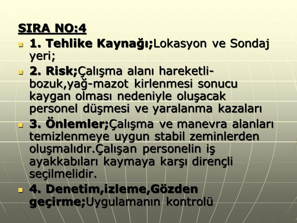 SIRA NO:4  1. Tehlike Kaynağı;Lokasyon ve Sondaj yeri;  2. Risk;Çalışma alanı hareketli- bozuk,yağ-mazot kirlenmesi sonucu kaygan olması nedeniyle o
