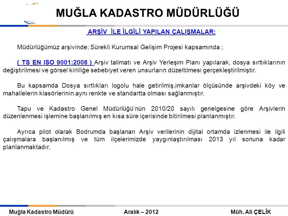 Tapu ve Kadastro Genel Müdürü Eylül 2010 – ANKARA Mehmet Zeki ADLI TAPU VE KADASTRO GENEL MÜDÜRLÜĞÜ Muğla Kadastro Müdürü Aralık – 2012 Müh.