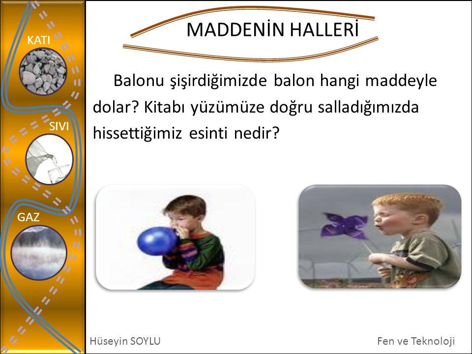 KATI SIVI GAZ Hüseyin SOYLU MADDENİN HALLERİ Fen ve Teknoloji Balonu şişirdiğimizde balon hangi maddeyle dolar? Kitabı yüzümüze doğru salladığımızda h