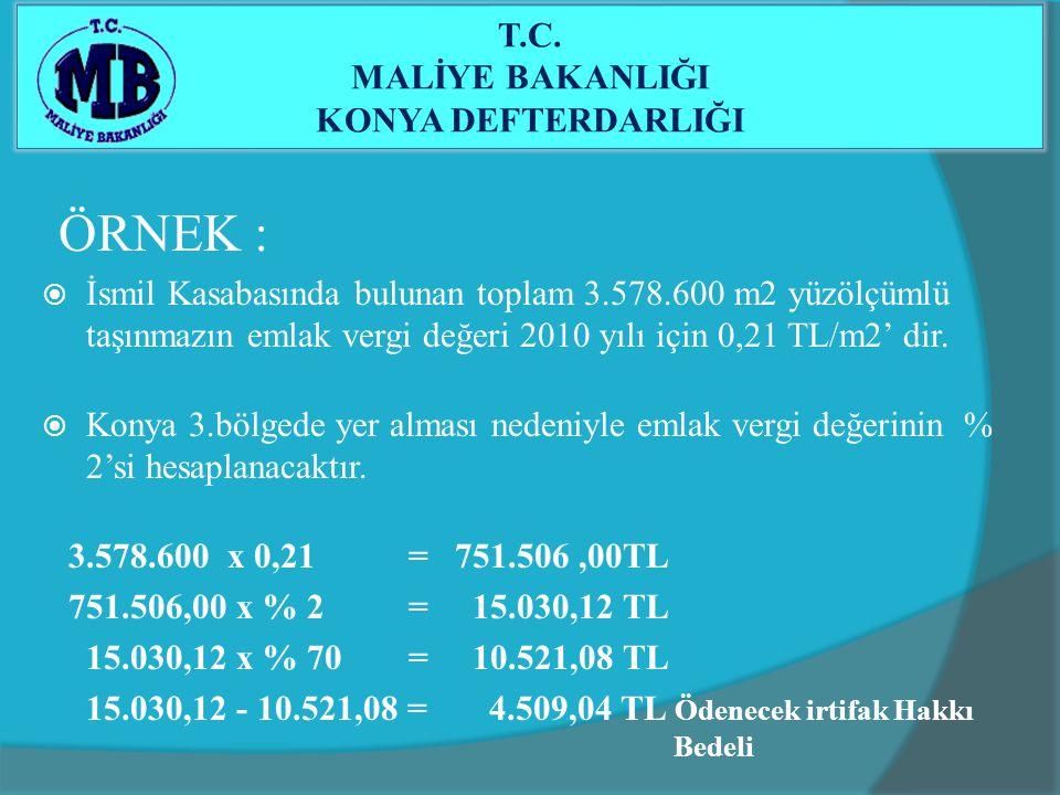 ÖRNEK :  İsmil Kasabasında bulunan toplam 3.578.600 m2 yüzölçümlü taşınmazın emlak vergi değeri 2010 yılı için 0,21 TL/m2' dir.  Konya 3.bölgede yer