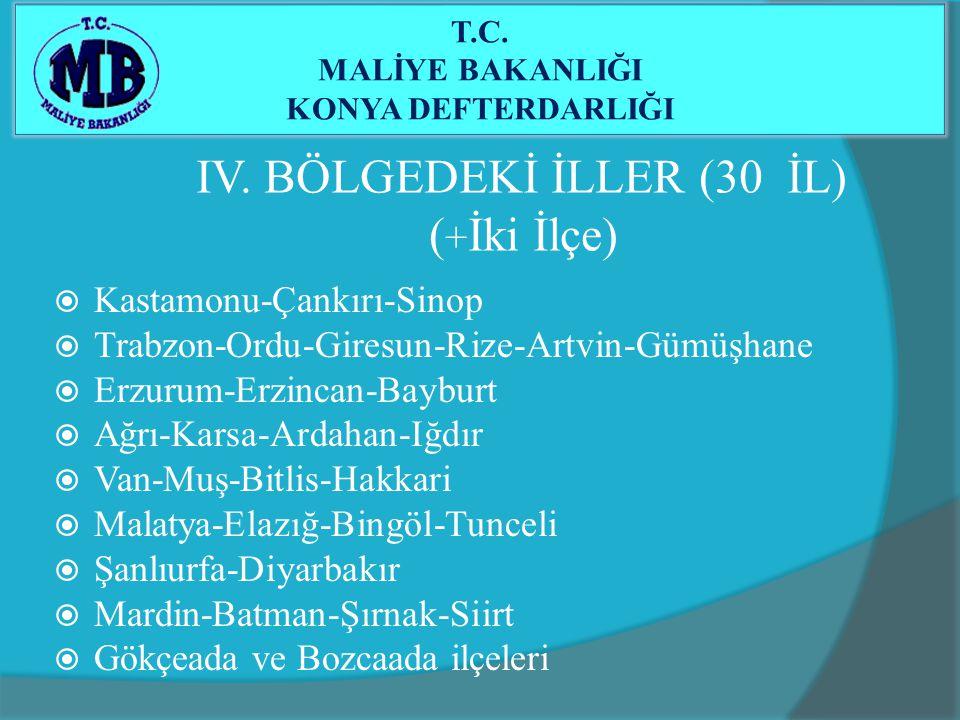 IV. BÖLGEDEKİ İLLER (30 İL) ( + İki İlçe)  Kastamonu-Çankırı-Sinop  Trabzon-Ordu-Giresun-Rize-Artvin-Gümüşhane  Erzurum-Erzincan-Bayburt  Ağrı-Kar