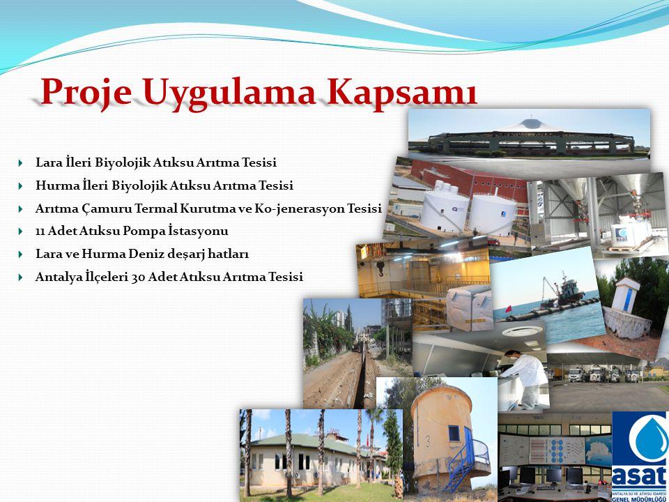 Proje Uygulama Kapsamı Lara İleri Biyolojik Atıksu Arıtma Tesisi Hurma İleri Biyolojik Atıksu Arıtma Tesisi Arıtma Çamuru Termal Kurutma ve Ko-jenerasyon Tesisi 11 Adet Atıksu Pompa İstasyonu Lara ve Hurma Deniz deşarj hatları Antalya İlçeleri 30 Adet Atıksu Arıtma Tesisi