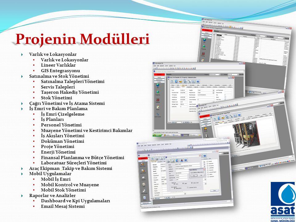 Projenin Modülleri Varlık ve Lokasyonlar  Varlık ve Lokasyonlar  Lineer Varlıklar  GIS Entegrasyonu Satınalma ve Stok Yönetimi  Satınalma Talepleri Yönetimi  Servis Talepleri  Taşeron Hakediş Yönetimi  Stok Yönetimi Çağrı Yönetimi ve İş Atama Sistemi İş Emri ve Bakım Planlama  İş Emri Çizelgeleme  İş Planları  Personel Yönetimi  Muayene Yönetimi ve Kestirimci Bakımlar  İş Akışları Yönetimi  Doküman Yönetimi  Proje Yönetimi  Enerji Yönetimi  Finansal Planlanma ve Bütçe Yönetimi  Laboratuar Süreçleri Yönetimi Araç Ekipman Takip ve Bakım Sistemi Mobil Uygulamalar  Mobil İş Emri  Mobil Kontrol ve Muayene  Mobil Stok Yönetimi Raporlar ve Analizler  Dashboard ve Kpi Uygulamaları  Email Mesaj Sistemi