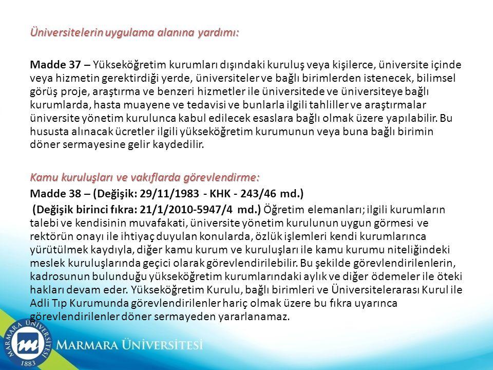 Üniversitelerin uygulama alanına yardımı: Madde 37 – Yükseköğretim kurumları dışındaki kuruluş veya kişilerce, üniversite içinde veya hizmetin gerekti