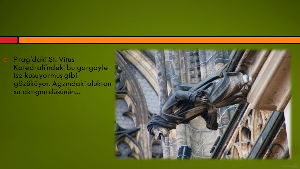  Prag'daki St. Vitus Katedrali'ndeki bu gargoyle ise kusuyormuş gibi gözüküyor. Agzındaki oluktan su aktıgını düşünün...