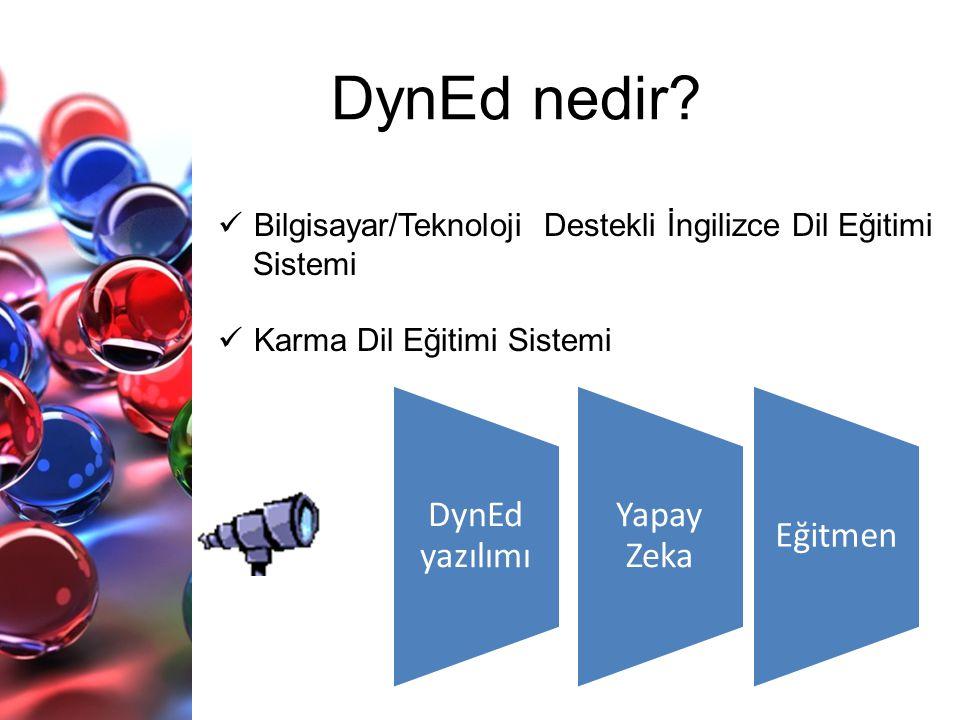  Bilgisayar/Teknoloji Destekli İngilizce Dil Eğitimi Sistemi  Karma Dil Eğitimi Sistemi DynEd nedir? DynEd yazılımı Yapay Zeka Eğitmen