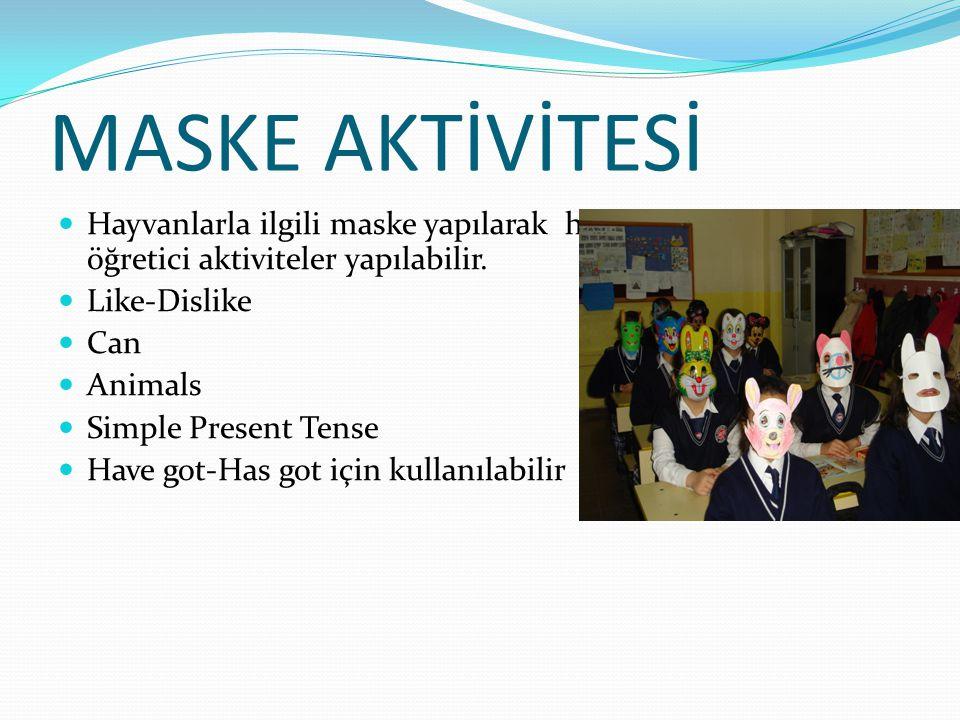 MASKE AKTİVİTESİ  Hayvanlarla ilgili maske yapılarak hem eğlenceli hem de öğretici aktiviteler yapılabilir.