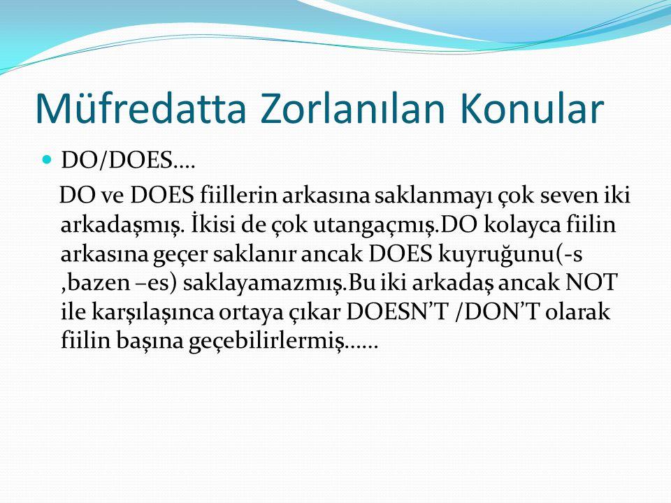 Müfredatta Zorlanılan Konular  DO/DOES….