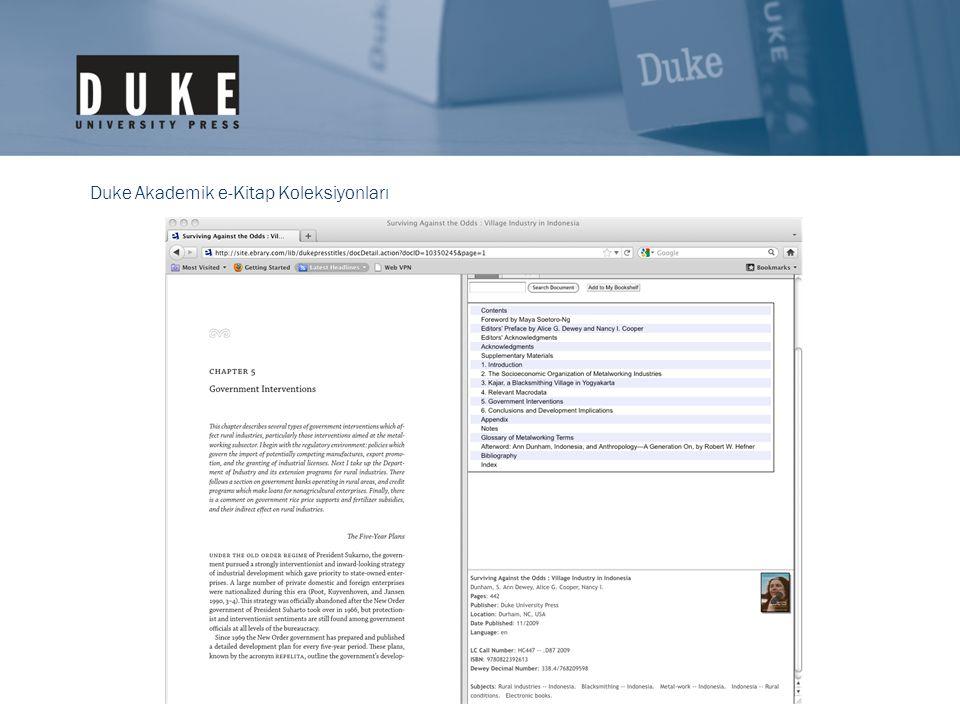 Duke Akademik e-Kitap Koleksiyonları