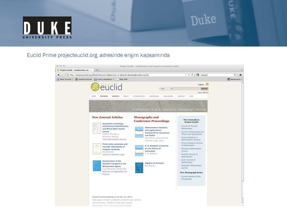 Euclid Prime projecteuclid.org. adresinde erişim kapsamında