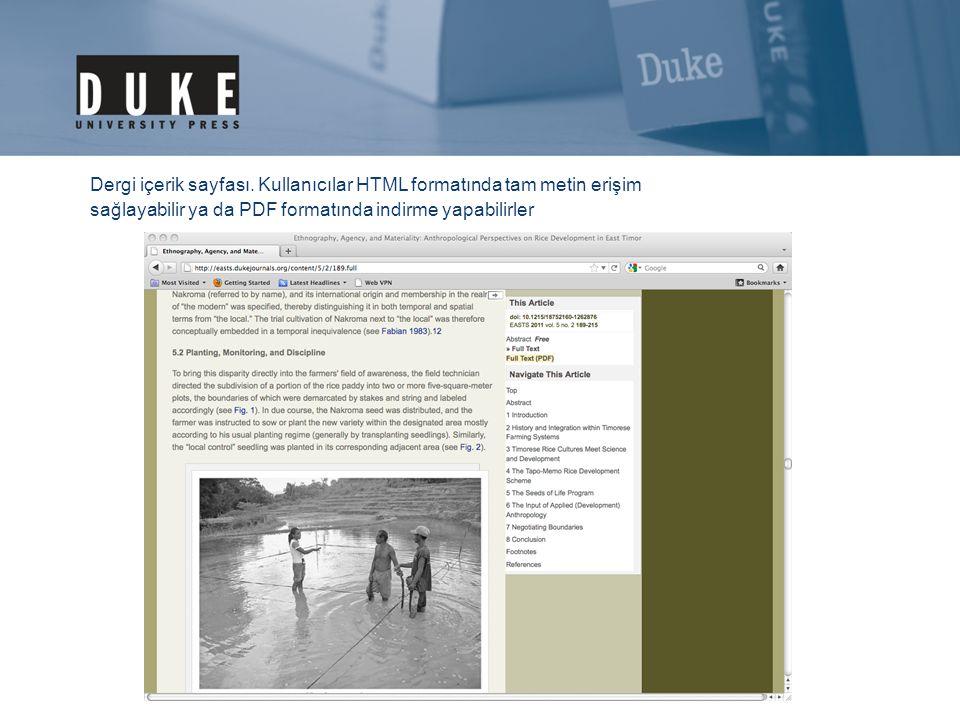 Dergi içerik sayfası. Kullanıcılar HTML formatında tam metin erişim sağlayabilir ya da PDF formatında indirme yapabilirler