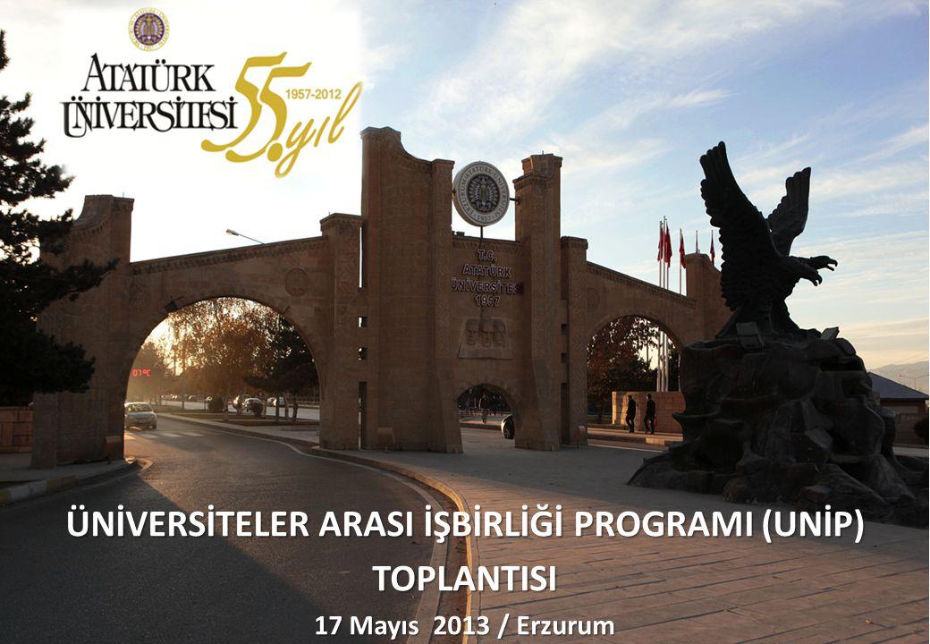  Atatürk Üniversitesi  Cumhuriyet Üniversitesi  Erciyes Üniversitesi  Fırat Üniversitesi  Gaziosmanpaşa Üniversitesi 21 Temmuz 2006 tarihinde düzenlenen bir protokolle;  İnönü Üniversitesi  Kafkas Üniversitesi  Karadeniz Teknik Üniversitesi  Yüzüncü Yıl Üniversitesi olmak üzere toplam 9 Üniversite tarafından Üniversiteler Arası İşbirliği Programı (ÜNİP) başlatılmıştır.
