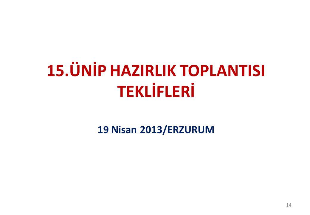 14 15.ÜNİP HAZIRLIK TOPLANTISI TEKLİFLERİ 19 Nisan 2013/ERZURUM
