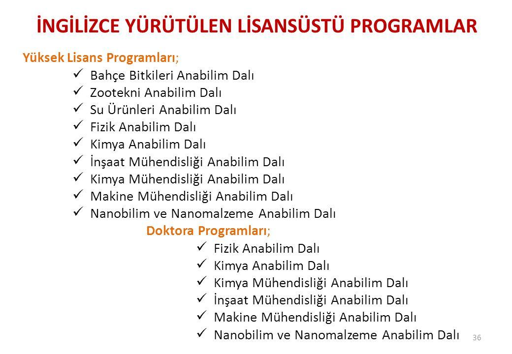 İNGİLİZCE YÜRÜTÜLEN LİSANSÜSTÜ PROGRAMLAR 36 Yüksek Lisans Programları;  Bahçe Bitkileri Anabilim Dalı  Zootekni Anabilim Dalı  Su Ürünleri Anabili