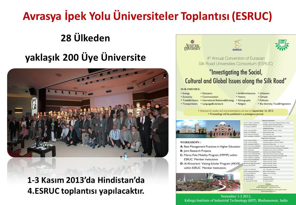Avrasya İpek Yolu Üniversiteler Toplantısı (ESRUC) 28 Ülkeden yaklaşık 200 Üye Üniversite 46 1-3 Kasım 2013'da Hindistan'da 4.ESRUC toplantısı yapılac