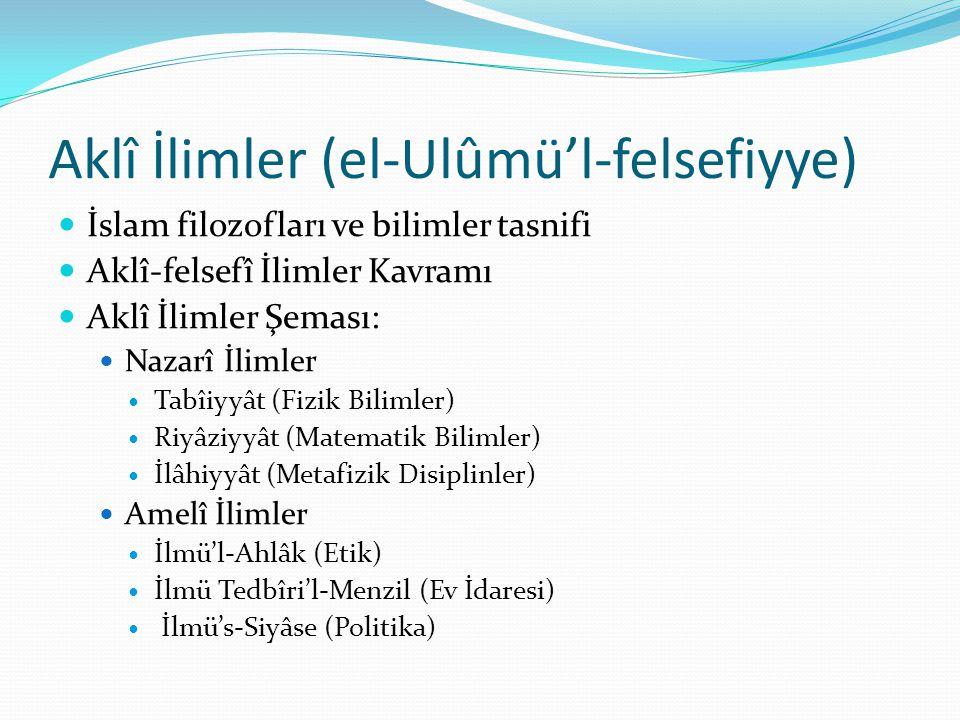 Aklî İlimler (el-Ulûmü'l-felsefiyye)  İslam filozofları ve bilimler tasnifi  Aklî-felsefî İlimler Kavramı  Aklî İlimler Şeması:  Nazarî İlimler 