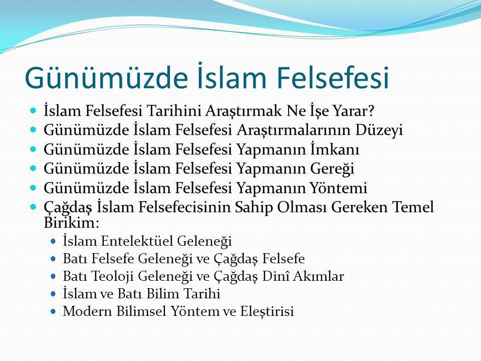 Günümüzde İslam Felsefesi  İslam Felsefesi Tarihini Araştırmak Ne İşe Yarar?  Günümüzde İslam Felsefesi Araştırmalarının Düzeyi  Günümüzde İslam Fe