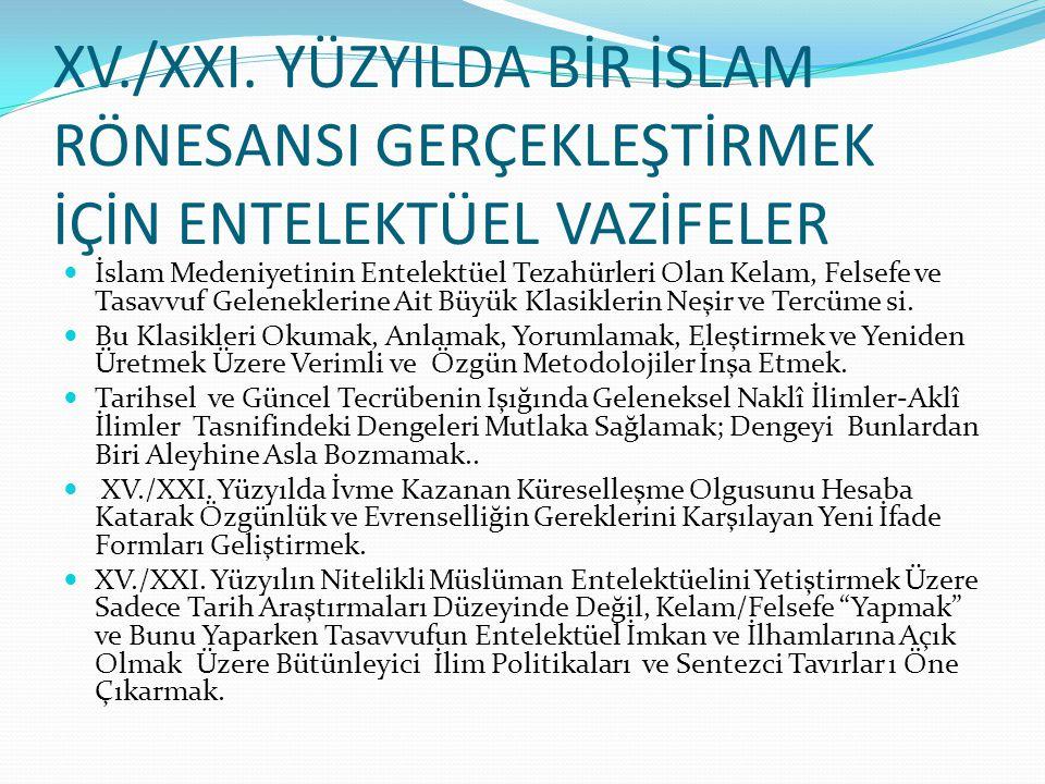 XV./XXI. YÜZYILDA BİR İSLAM RÖNESANSI GERÇEKLEŞTİRMEK İÇİN ENTELEKTÜEL VAZİFELER  İslam Medeniyetinin Entelektüel Tezahürleri Olan Kelam, Felsefe ve