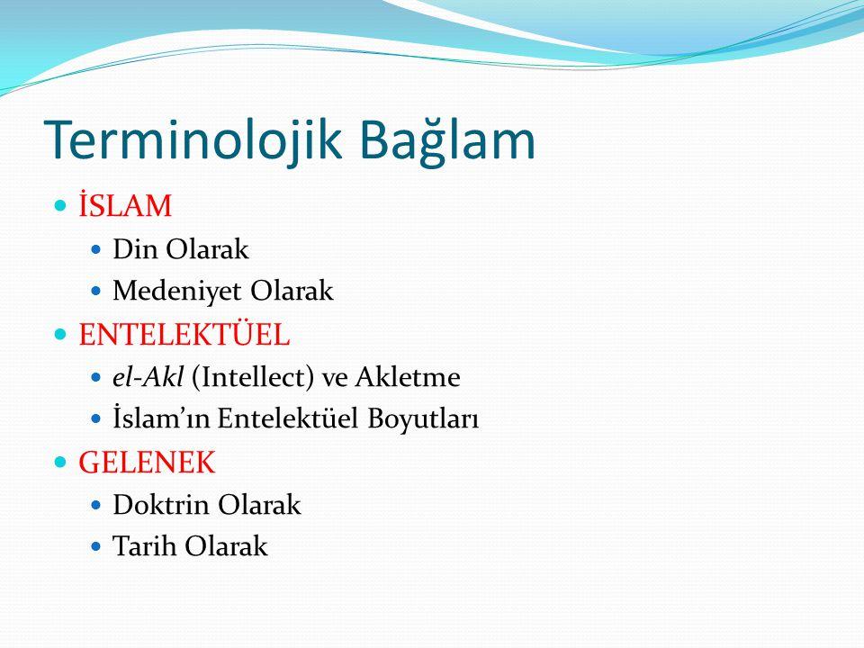 Terminolojik Bağlam  İSLAM  Din Olarak  Medeniyet Olarak  ENTELEKTÜEL  el-Akl (Intellect) ve Akletme  İslam'ın Entelektüel Boyutları  GELENEK  Doktrin Olarak  Tarih Olarak