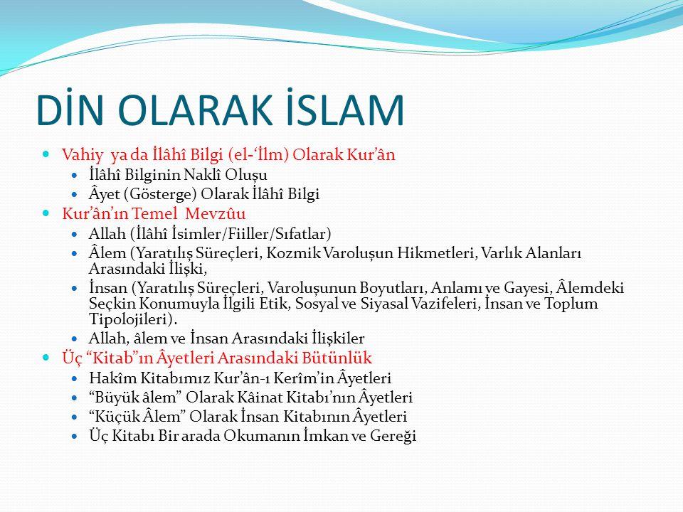 MEDENİYET OLARAK İSLAM  Medeniyet Perspektifi  Değerler: Özgünlük ve Evrensellik  Zihin Dünyası: Müslüman Aklın İnşâı  Zaman: Tarih Bilinci ya da Süreklilik ve Değişim  Mekân: Dârü'l-İslâm ya da Kültürel Coğrafya  İslam Medeniyetinin Kurucu Unsurları  İlimler (Ulûm): Naklî İlimler-Aklî İlimler  Sanatlar: Dinî-Dünyevî  Kurumlar: Resmî-Sivil