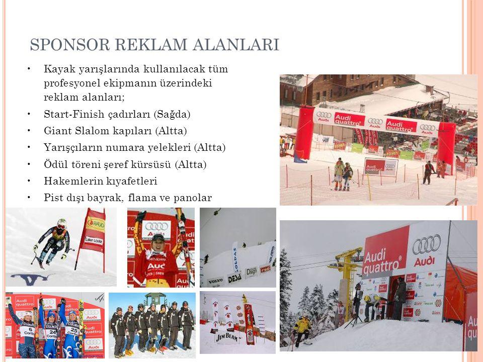 SPONSOR REKLAM ALANLARI •Kayak yarışlarında kullanılacak tüm profesyonel ekipmanın üzerindeki reklam alanları; •Start-Finish çadırları (Sağda) •Giant