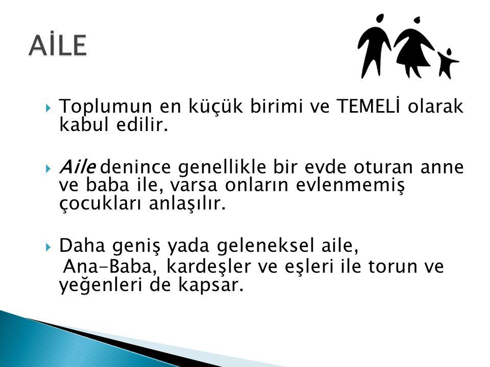 Aile hukukundan doğan dava ve işleri görmek üzere kurulan mahkemeleridir GÖREVLERİ  22.11.2001 tarihli ve 4721 sayılı Türk Medeni Kanununun Üçüncü Kısım hariç olmak üzere (14.4.2004 t, 5133 sk.ile ek) İkinci Kitabı ile 3.12.2001 tarihli ve 4722 sayılı Türk Medeni Kanununun Yürürlüğü ve Uygulama Şekli Hakkında Kanuna göre aile hukukundan doğan dava ve işler,(14.4.2004 t, 5133 sk.ile ek)  20.5.1982 tarihli ve 2675 sayılı Milletlerarası Özel Hukuk ve Usul Hukuku Hakkında Kanuna göre aile hukukuna ilişkin yabancı mahkeme kararlarının tanıma ve tenfizi,  Kanunlarla verilen diğer görevleri yerine getirmektir.