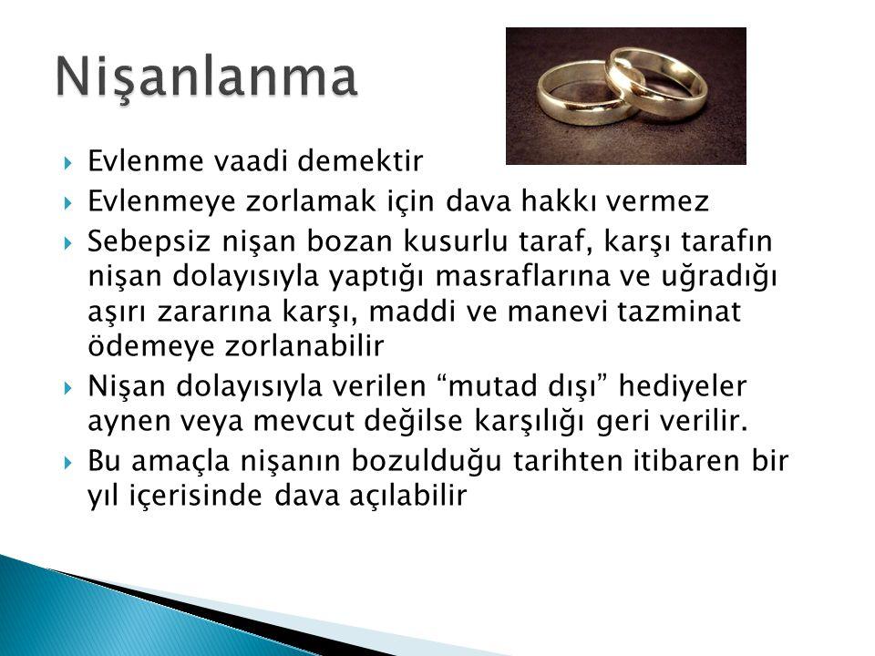  Evlilik, reşit kadın ve erkeğin, iki reşit tanık ve evlendirmeye yetkili memur önünde açık evlenme iradelerini beyan etmeleri ile tamamlanan bir sözleşmedir.