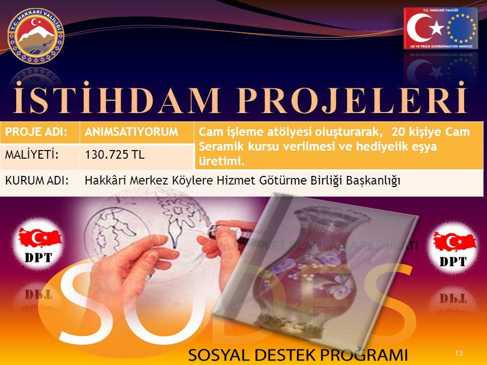 PROJE ADI:ANIMSATIYORUMCam işleme atölyesi oluşturarak, 20 kişiye Cam Seramik kursu verilmesi ve hediyelik eşya üretimi. MALİYETİ:130.725 TL KURUM ADI