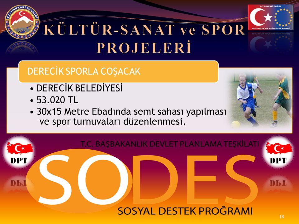 •DERECİK BELEDİYESİ •53.020 TL •30x15 Metre Ebadında semt sahası yapılması ve spor turnuvaları düzenlenmesi. DERECİK SPORLA COŞACAK 18