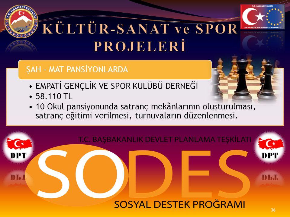 •EMPATİ GENÇLİK VE SPOR KULÜBÜ DERNEĞİ •58.110 TL •10 Okul pansiyonunda satranç mekânlarının oluşturulması, satranç eğitimi verilmesi, turnuvaların dü
