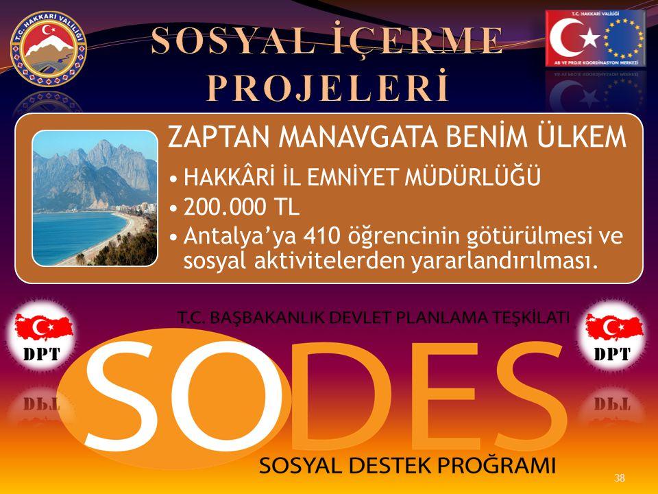ZAPTAN MANAVGATA BENİM ÜLKEM •HAKKÂRİ İL EMNİYET MÜDÜRLÜĞÜ •200.000 TL •Antalya'ya 410 öğrencinin götürülmesi ve sosyal aktivitelerden yararlandırılma