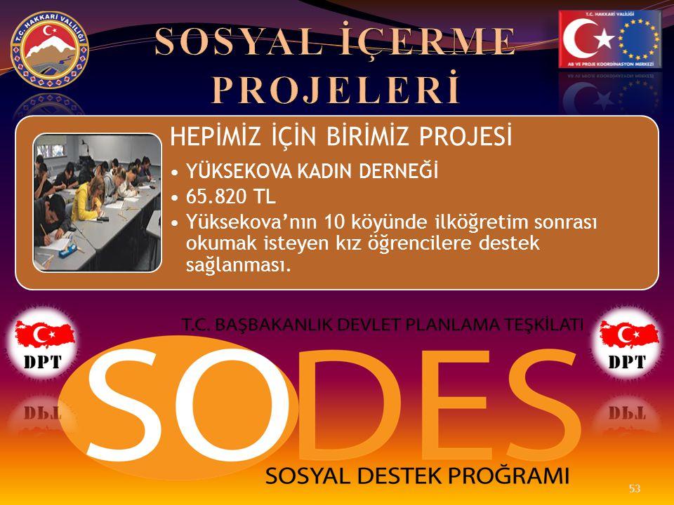 HEPİMİZ İÇİN BİRİMİZ PROJESİ •YÜKSEKOVA KADIN DERNEĞİ •65.820 TL •Yüksekova'nın 10 köyünde ilköğretim sonrası okumak isteyen kız öğrencilere destek sa