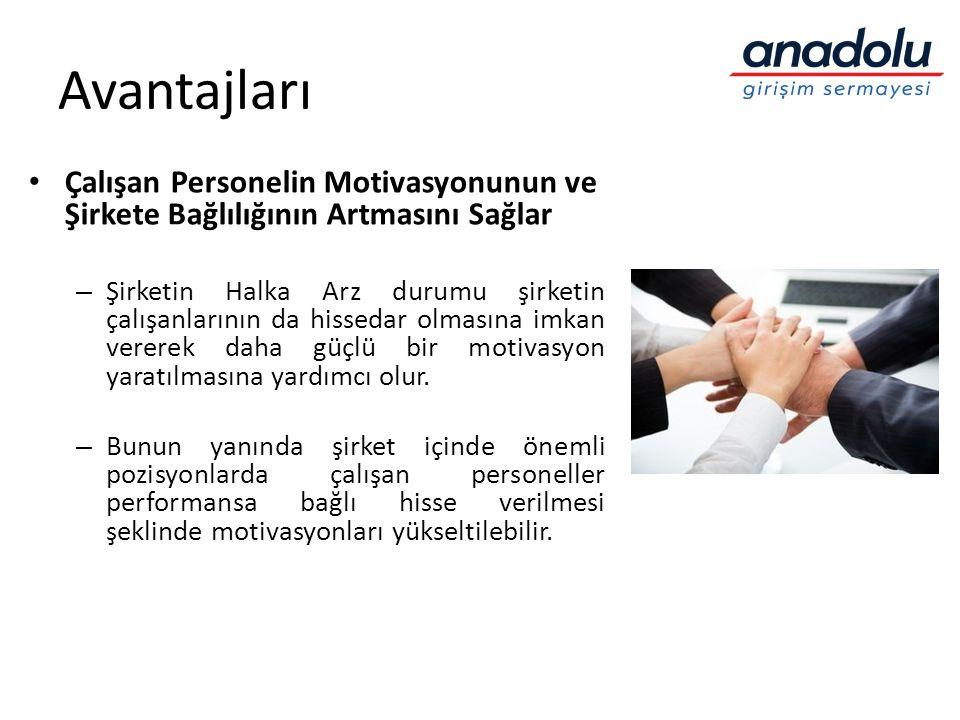 Avantajları • Çalışan Personelin Motivasyonunun ve Şirkete Bağlılığının Artmasını Sağlar – Şirketin Halka Arz durumu şirketin çalışanlarının da hissed