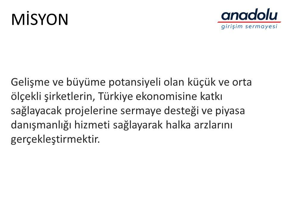 MİSYON Gelişme ve büyüme potansiyeli olan küçük ve orta ölçekli şirketlerin, Türkiye ekonomisine katkı sağlayacak projelerine sermaye desteği ve piyas