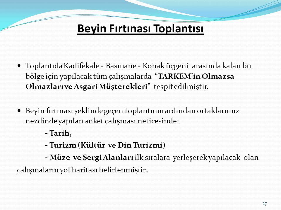 """Beyin Fırtınası Toplantısı  Toplantıda Kadifekale - Basmane - Konak üçgeni arasında kalan bu bölge için yapılacak tüm çalışmalarda """"TARKEM'in Olmazsa"""
