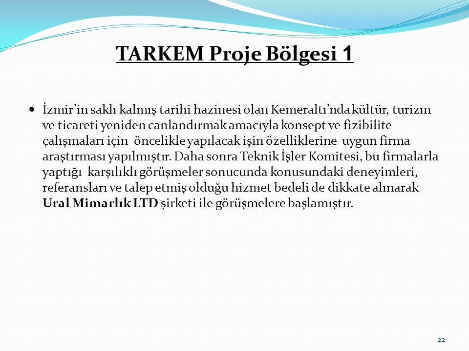 TARKEM Proje Bölgesi 1  İzmir'in saklı kalmış tarihi hazinesi olan Kemeraltı'nda kültür, turizm ve ticareti yeniden canlandırmak amacıyla konsept ve