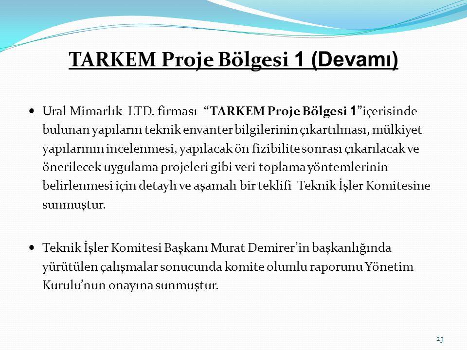 """TARKEM Proje Bölgesi 1 (Devamı)  Ural Mimarlık LTD. firması """"TARKEM Proje Bölgesi 1 """"içerisinde bulunan yapıların teknik envanter bilgilerinin çıkart"""