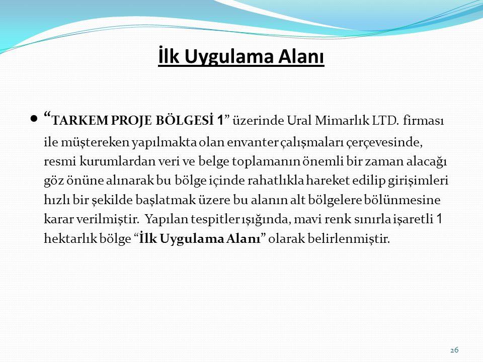 """İlk Uygulama Alanı  """" TARKEM PROJE BÖLGESİ 1 """" üzerinde Ural Mimarlık LTD. firması ile müştereken yapılmakta olan envanter çalışmaları çerçevesinde,"""