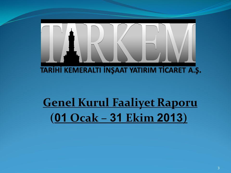 Genel Kurul Faaliyet Raporu ( 01 Ocak – 31 Ekim 2013 ) 3