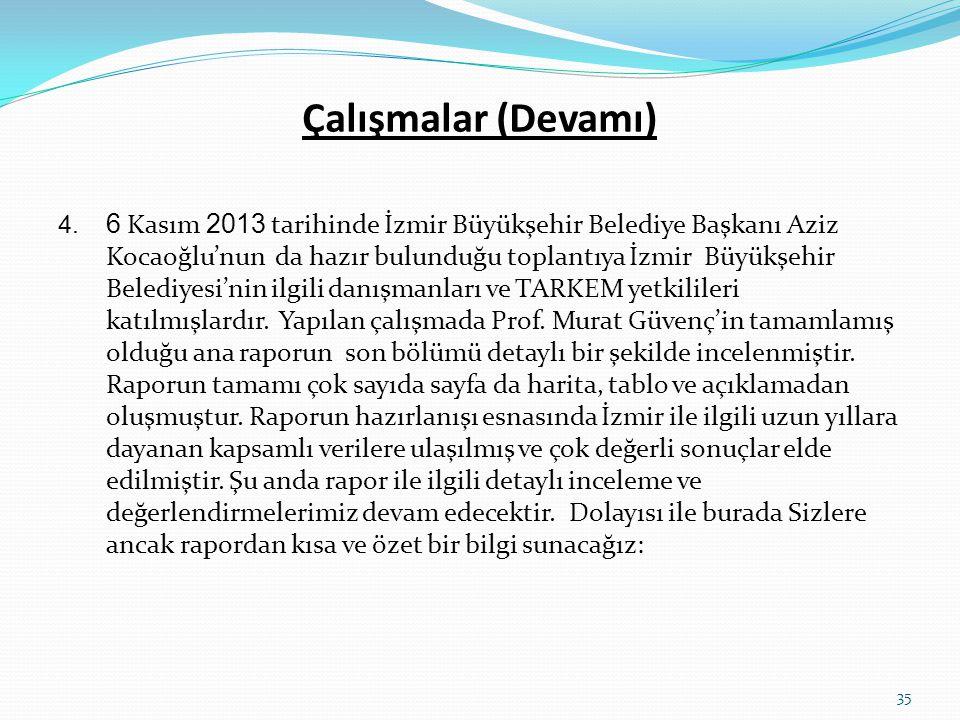 Çalışmalar (Devamı) 4. 6 Kasım 2013 tarihinde İzmir Büyükşehir Belediye Başkanı Aziz Kocaoğlu'nun da hazır bulunduğu toplantıya İzmir Büyükşehir Beled