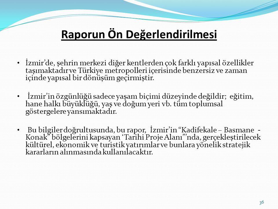 Raporun Ön Değerlendirilmesi • İzmir'de, şehrin merkezi diğer kentlerden çok farklı yapısal özellikler taşımaktadır ve Türkiye metropolleri içerisinde
