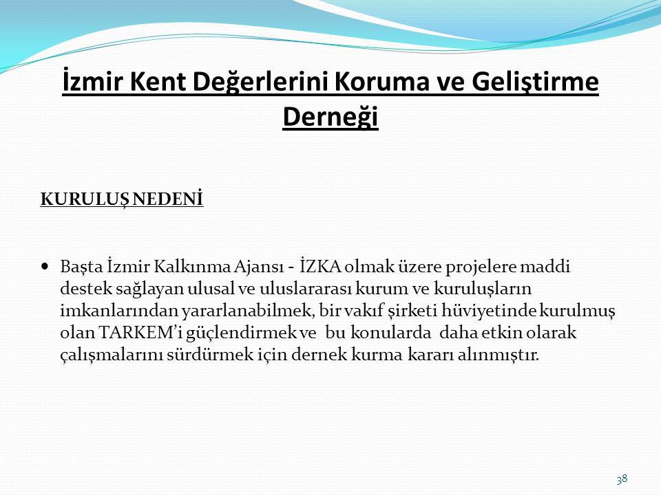 İzmir Kent Değerlerini Koruma ve Geliştirme Derneği KURULUŞ NEDENİ  Başta İzmir Kalkınma Ajansı - İZKA olmak üzere projelere maddi destek sağlayan ul