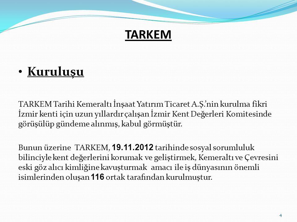 TARKEM • Kuruluşu TARKEM Tarihi Kemeraltı İnşaat Yatırım Ticaret A.Ş.'nin kurulma fikri İzmir kenti için uzun yıllardır çalışan İzmir Kent Değerleri K