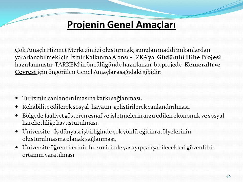 Projenin Genel Amaçları Çok Amaçlı Hizmet Merkezimizi oluşturmak, sunulan maddi imkanlardan yararlanabilmek için İzmir Kalkınma Ajansı - İZKA'ya Güdüm