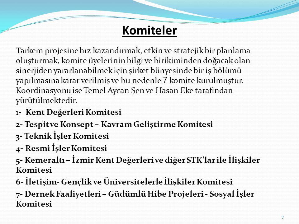 İzmir Kent Değerlerini Koruma ve Geliştirme Derneği KURULUŞ NEDENİ  Başta İzmir Kalkınma Ajansı - İZKA olmak üzere projelere maddi destek sağlayan ulusal ve uluslararası kurum ve kuruluşların imkanlarından yararlanabilmek, bir vakıf şirketi hüviyetinde kurulmuş olan TARKEM'i güçlendirmek ve bu konularda daha etkin olarak çalışmalarını sürdürmek için dernek kurma kararı alınmıştır.
