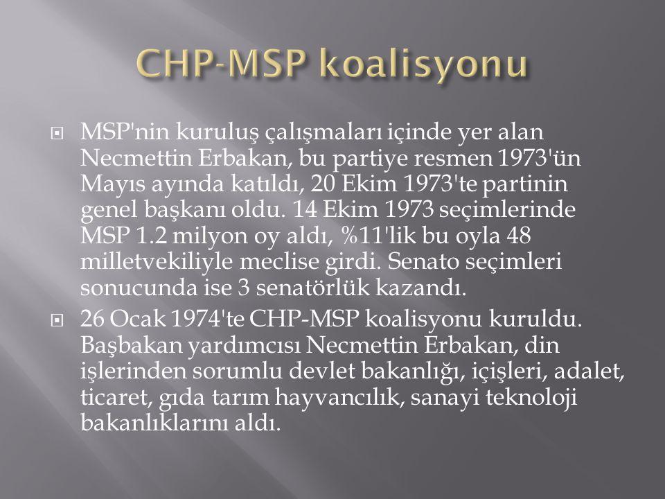  MSP'nin kuruluş çalışmaları içinde yer alan Necmettin Erbakan, bu partiye resmen 1973'ün Mayıs ayında katıldı, 20 Ekim 1973'te partinin genel başkan