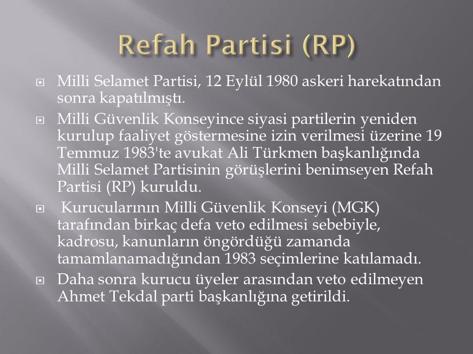  Milli Selamet Partisi, 12 Eylül 1980 askeri harekatından sonra kapatılmıştı.  Milli Güvenlik Konseyince siyasi partilerin yeniden kurulup faaliyet