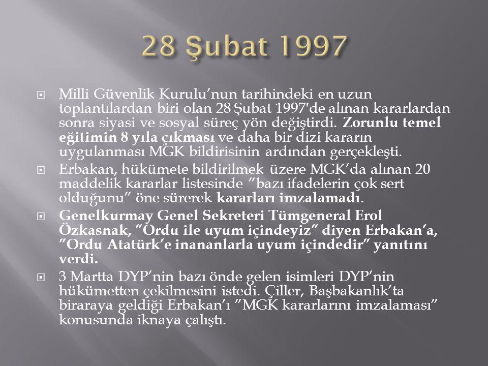  Milli Güvenlik Kurulu'nun tarihindeki en uzun toplantılardan biri olan 28 Şubat 1997′de alınan kararlardan sonra siyasi ve sosyal süreç yön değiştir